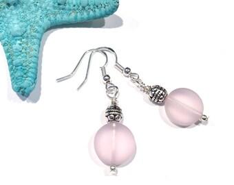 Pink Sea Glass Earrings, Beach Wedding Jewelry, Pink Dangle Earrings, Pink Earrings, Beach Glass Jewelry, Sea Glass Dangle Earrings