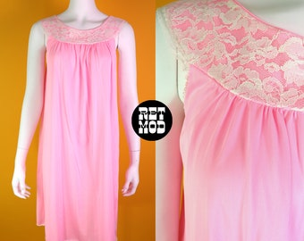 Girly Vintage 60s Pastel Bubblegum Pink Nightgown with Lace Neckline