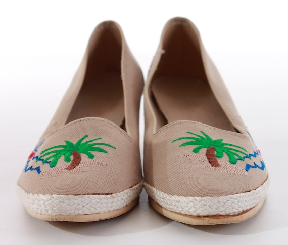 Size Green Platform 8 UK Novelty 80's and Embroidered Beige Nautical EUR38 Retro Sailboat Palm Vintage Wedge Blue 6 Women's Shoes Summer gxOqdCCv