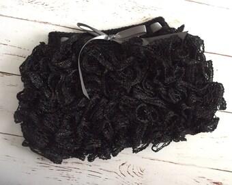 Ready to Ship Crochet Ruffle Skirt Size 1-2 year in onyx