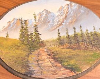 Large Vintage Painting on Wood Slab Rocky Mountain Nature Landscape