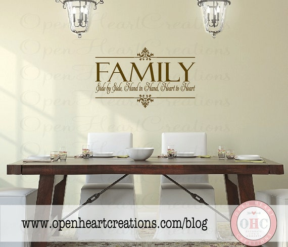 Family Vinyl Wall Decal Side By Side Hand In Hand Heart To
