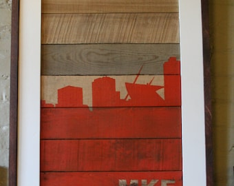 Salvaged Wood Milwaukee Skyline