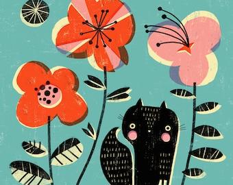 SQUIRREL & FLOWERS