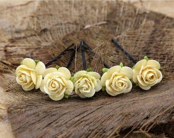 Cream Mulberry Paper Flower Hair Pins , Bridal Hair Pins, Hair Bobby Pins,U pins,Prom,Bridal Hair Accessories (FL381)