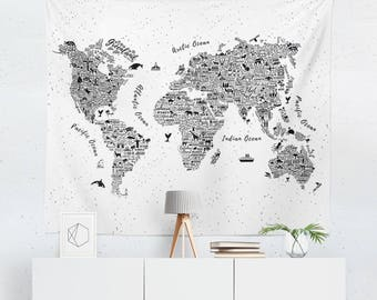 World Map Tapestry | World Map Wall Art | World Map Wall Hanging | World Map Art | World Map Wall Decor