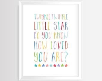 """Printable wall art-Nursery/Kids quote """"Twinkle, twinkle, little star""""–8 x 10 inches -300 dpi/JPG-Instant Download-Colorful Typography Poster"""