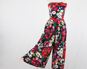 1980s Strapless Floral Cotton Jumpsuit XS
