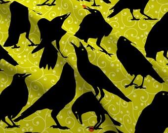 Ravens Fabric - Black Bird By Mariafaithgarcia - Raven Crow Black Bird Halloween Goth Cotton Fabric By The Yard With Spoonflower