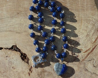 Lapis Lazuli Heart Necklace ~ Stone Heart Pendant ~ Hand Wired  ~ Healing Stones ~ Deep Blue ~ Birthday Gift ~ Gift for Her ~ Boho Jewellery