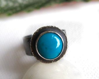 "Turquoise Ring in Sterling Silver - ""Life"" OOAK"
