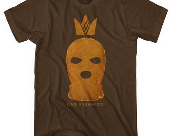 King Villain Co. T-shirt - Men and Unisex - XS S M L XL 2x 3x 4x - Villain Tee, Mask, Balaclava, Royalty, Heist - 4 Colors