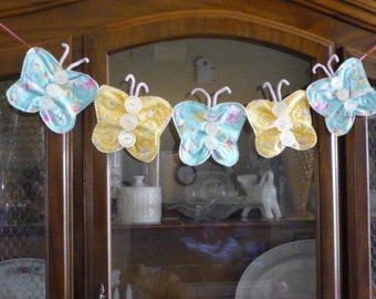 Quilted Butterfly Bunting with vintage buttons