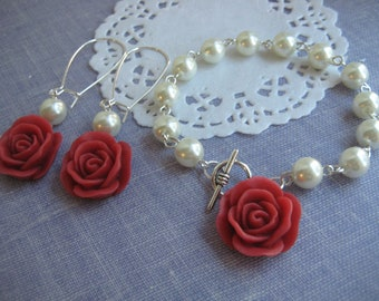 Ivory glass pearl red rose bracelet matching long earring. Other pearl, rose colours available.