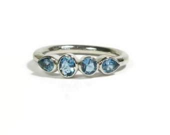 Aquamarine Gemstone Band, Sterling Silver Birthstone Ring, 4 Stone Ring, Made to Order
