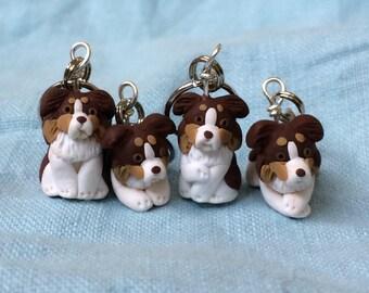 Miniature Dog, Brown Tri Australian Shepherd, Stitch Markers, Dog Lover Gift, Knitting Notions, Crochet Notions, Knitting Accessories, Set 4