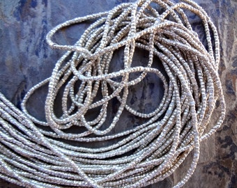 Heishi, Silver Plated, African Brass, African Trade, 1x1.2mm, 29 Inches, Priced Per Strand