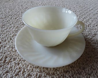 Vintage Fire King Oven Ware Ivory Swirl Tea Cup and Saucer  Made in USA Circa 1950s-1960s