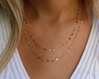 Gold Layering Necklace Set /  Double Strand Layering Necklaces / Gold Multi Chain Necklace / Dainty Layering Necklaces / Chain Lace Necklace