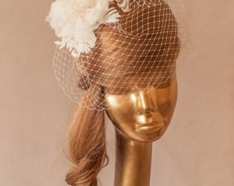 Ivory BIRDCAGE VEIL, Vintage Style Bridal FASCINATOR.