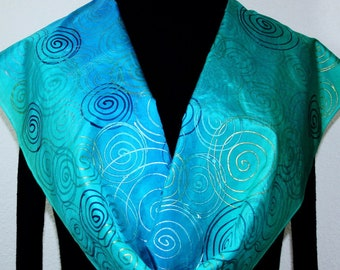 Silk Scarf Hand Painted Teal Turquoise Hand Dyed Shawl TURQUOISE GEM, by Silk Scarves Colorado. Select Your SIZE! Birthday, Christmas Gift