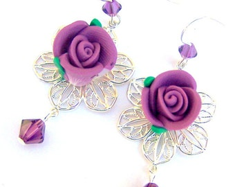 Purple flower earrings, amethyst purple rose earrings, silver filigree, polymer clay, Swarovski crystal, holiday gift for her