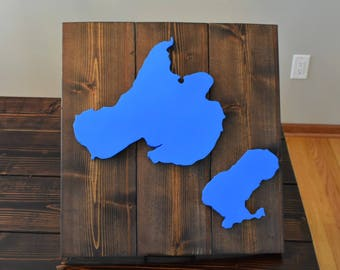 Lake Mendota Monona Madison Wisconsin Wood Decor Sign Handmade for weddings housewarming nursery kids room WI home capital city
