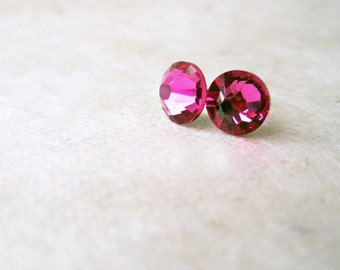 of rose fuschia pair gem dp stone silver stainless crystal pink stud earrings surgical steel round