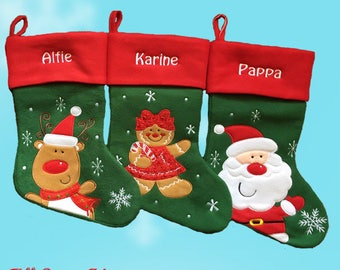 Personalised Christmas Stocking - Embroidered , Luxury , 40cm long , xmas , sock
