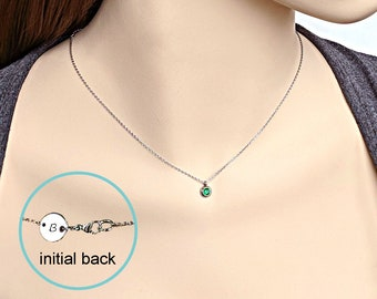 Emerald necklace May birthstone necklace Custom name necklace Personalized dainty CZ Initial necklace Delicate stainless steel disc necklace