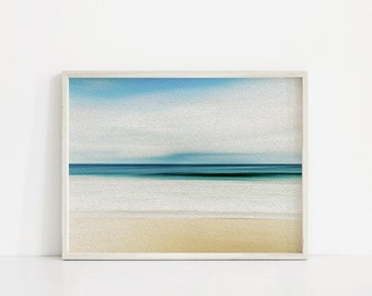 Abstract Beach Print. Pastel Beach Painting. Sea Pastel Colors. Minimal Beach Art Prints. Pastel Art. Teal Ocean Art. Landscape Art Print