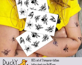 "Set of 3 temporary tattoos ""Bees"". You will get 21 tiny bees! Lovely kids tatts with bugs and flies - honey bees party bag supply. TT091"