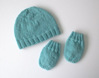 Hand knit baby hat and mittens set/ Merino wool hat, newborn mittens (3-6)months