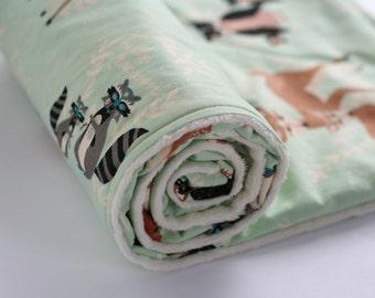 Hello Bear Minky Baby Blanket, Woodland Minky Blanket, Deer Owl Fox Blanket, Neutral Crib Blanket, Boy Blanket, Girl Blanket, Hello Meadow