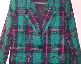 Women's 1980s Funky Green Tweed Blazer Jacket by Tofy