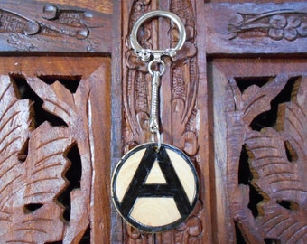 """4"""" Anarchy Keychain - Wood Burned Keychain, Pyrography Art, Wood Keychain, Anarchy"""
