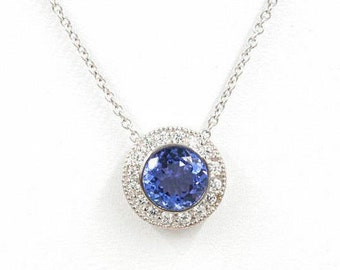 Round Tanzanite Necklace, 0.25ct. High Quality Diamonds & 7mm AAA Natural Tanzanite, 14k White Gold Halo Necklace, Simple Necklace