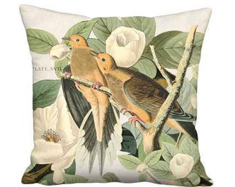 20x20 Inch - READY TO SHIP - Linen Cotton Turtledove Delight Pillow - French Cottage Bird Cushion Cover
