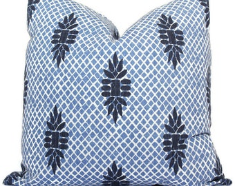 Boca Indigo Blue  Wedgewood Trellis Decorative Pillow Cover, Throw Pillow, Accent Pillow, Pillow Sham  Lacefield Textiles