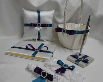 Wedding Accessories Ivory Teal  Eggplant Ring Pillow Flower Girl Basket Guest Book Pen Garters Your Colors