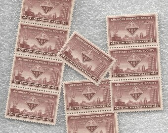 10 Unused US Postage Stamps American Chemical Society 3 Cents 1951 Stamp #1002 Violet Brown Craft Supply or Mail Invitations - 7525d