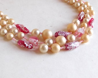 Vintage Pink Art Glass and Faux Pearl Multi-Strand Beaded Necklace - Pink & White Art Glass Beads - Mid-Century Necklace Made in Japan 1960s
