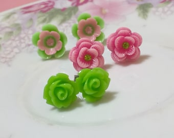 Stud Earrings Set, Lime Green and Pink Earring Set, Pink Rhinestone Rose Studs, Lime Green Daisy Studs, Floral Studs, KreatedByKelly (ES1)