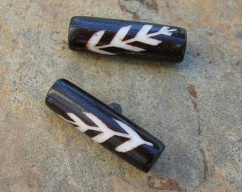 Brown and White Leaf Bone Barrel Beads