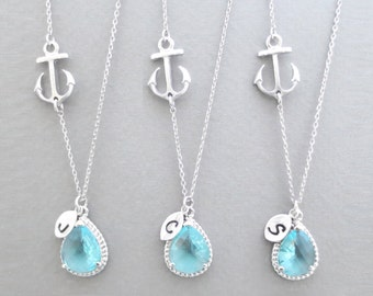 Set of 1-4, Personalized, Initial, Sideways, Anchor, Aquamarine, Sky blue, Glass, Silver, Necklace, Sets, Wedding, Gift, Jewelry