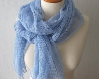 Linen Scarf Shawl Knitted Natural Summer Wrap in Light Blue