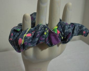 Vintage 1990s Hair Scrunchie - Navy with Florescent