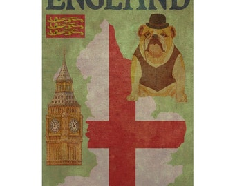 ENGLAND 1F- Handmade Leather Wall Hanging - Travel Art