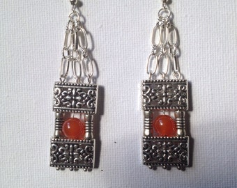 Orange stone bead and Tibetan silver earrings