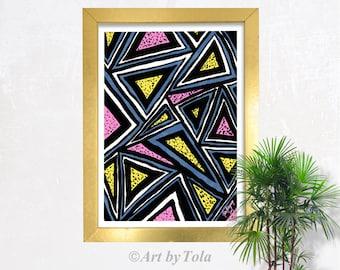 Tribal Triangles Geometric Abstract Watercolor Fine Art Giclee Print Original Artwork